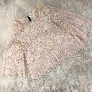 H&M Cream Scallop Sheer Boho Lace Blouse